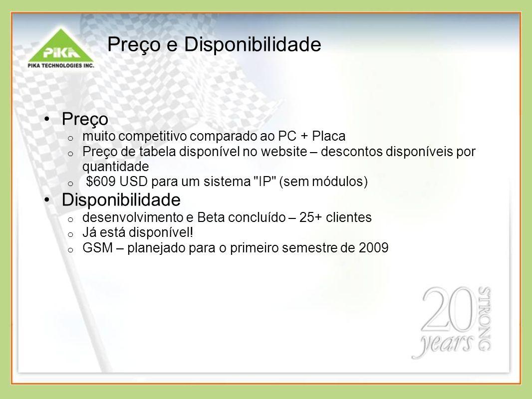 Preço e Disponibilidade Preço o muito competitivo comparado ao PC + Placa o Preço de tabela disponível no website – descontos disponíveis por quantida