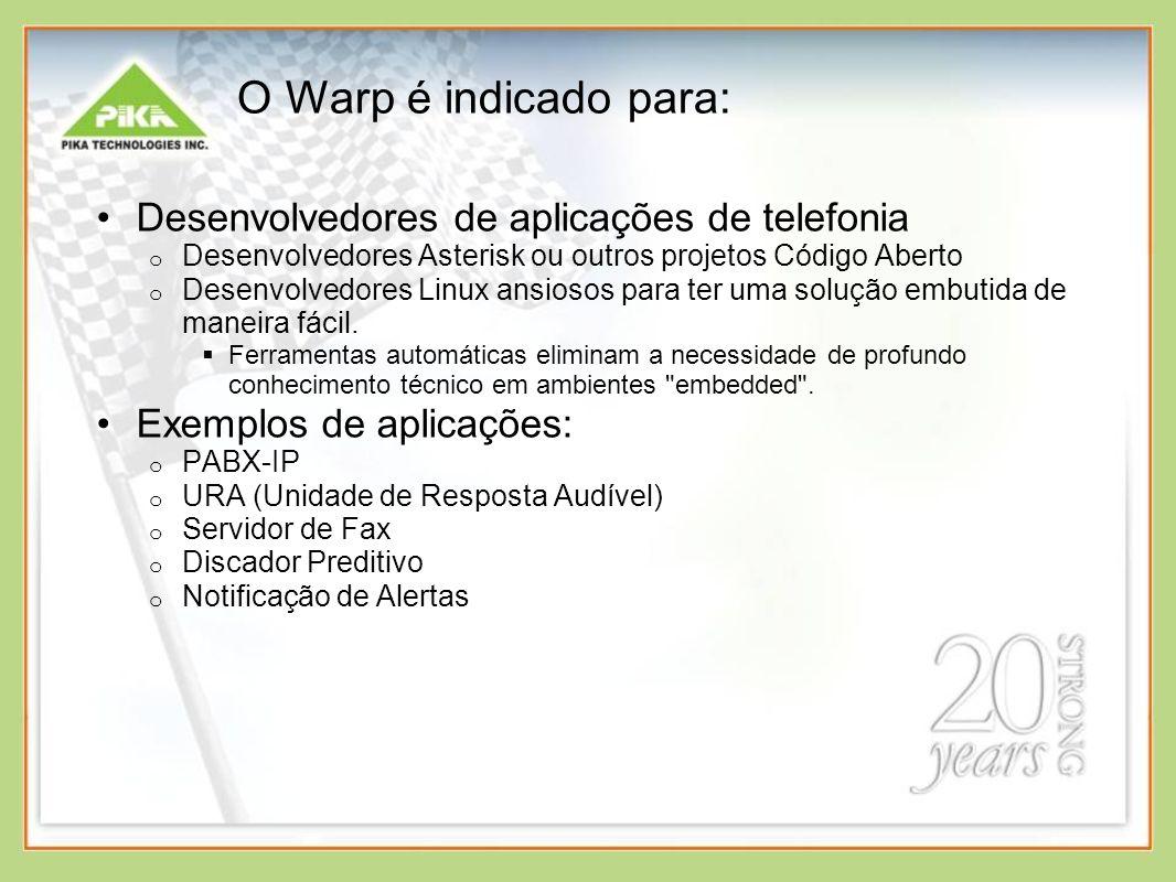 Software – Pacotes disponíveis Conjunto completo de aplicações de telefonia geração e detecção de tons gravação/reprodução VoIP conferência cancelamento de eco Pré-configurado com Linux, drivers e aplicativos SSH (acesso remoto) Asterisk Banco do dados, web server, linguagem para web e utilitários Possibilidade de adição de qualquer pacote de software que sua aplicação necessite Comunidade PIKA Warp (pikawarp.org)