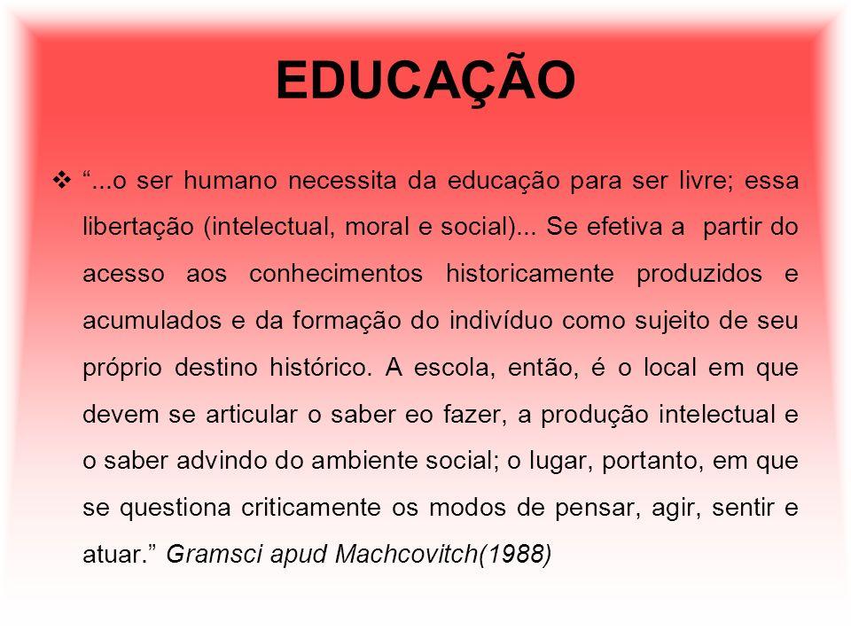 EDUCAÇÃO...o ser humano necessita da educação para ser livre; essa libertação (intelectual, moral e social)... Se efetiva a partir do acesso aos conhe