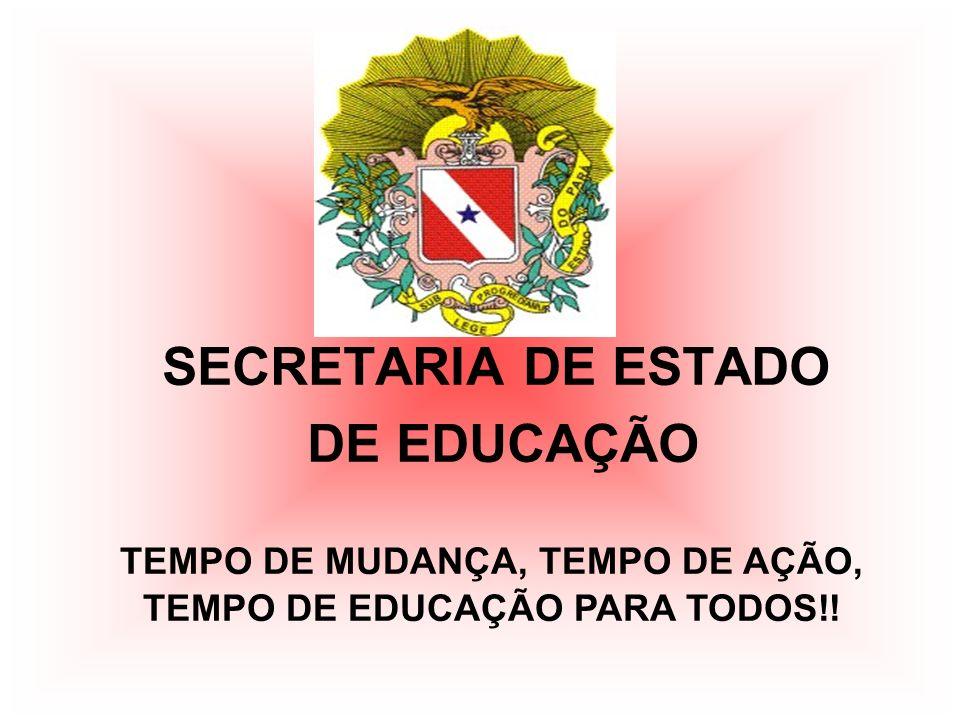 SECRETARIA DE ESTADO DE EDUCAÇÃO TEMPO DE MUDANÇA, TEMPO DE AÇÃO, TEMPO DE EDUCAÇÃO PARA TODOS!!
