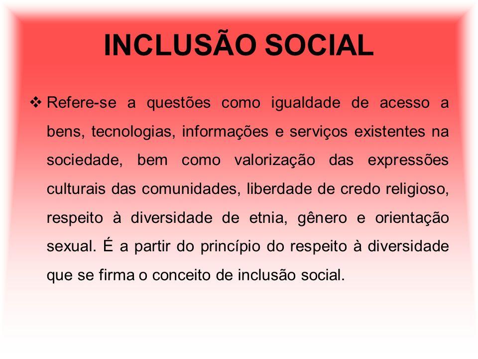 INCLUSÃO SOCIAL Refere-se a questões como igualdade de acesso a bens, tecnologias, informações e serviços existentes na sociedade, bem como valorizaçã