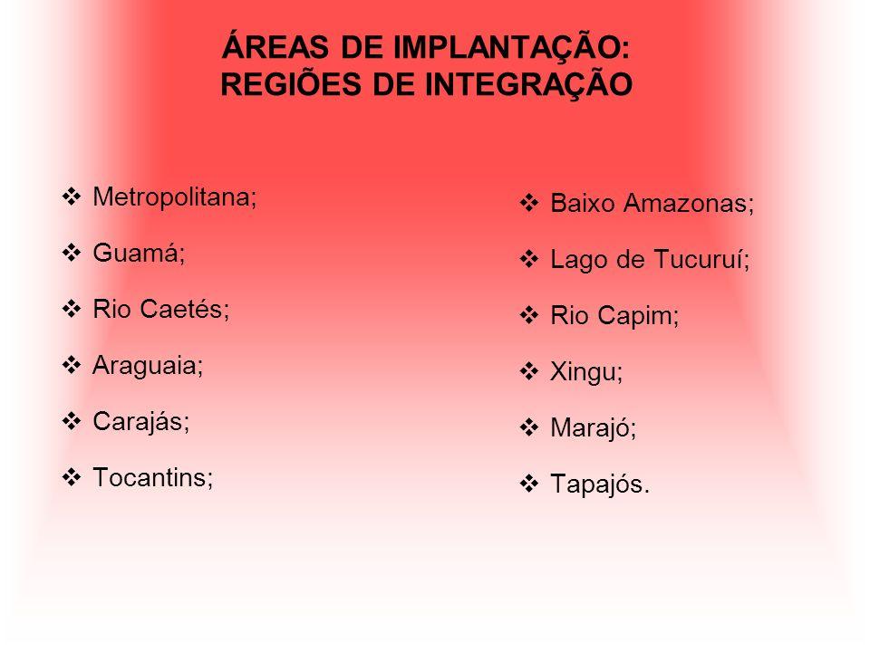 ÁREAS DE IMPLANTAÇÃO: REGIÕES DE INTEGRAÇÃO Metropolitana; Guamá; Rio Caetés; Araguaia; Carajás; Tocantins; Baixo Amazonas; Lago de Tucuruí; Rio Capim