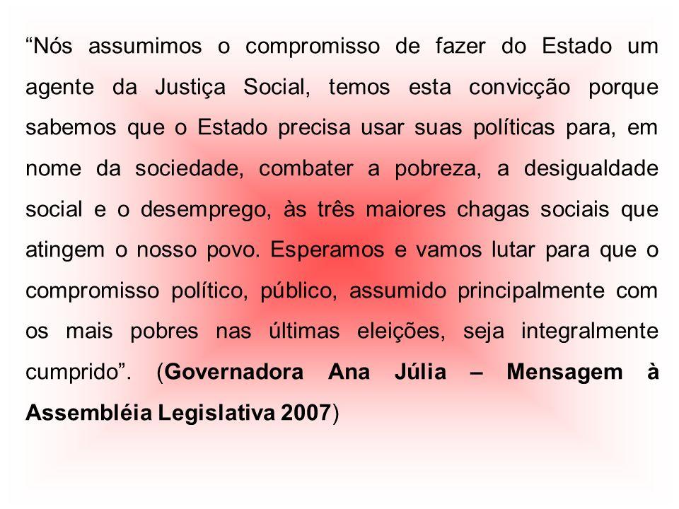 Nós assumimos o compromisso de fazer do Estado um agente da Justiça Social, temos esta convicção porque sabemos que o Estado precisa usar suas polític