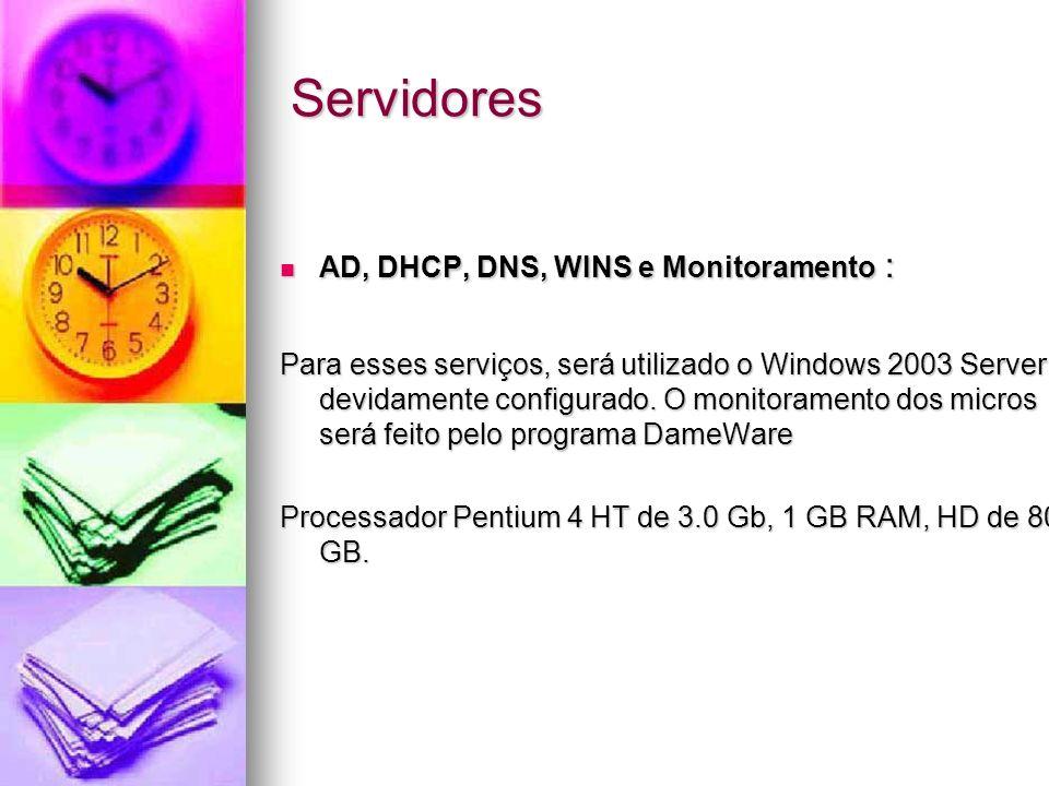 Servidores AD, DHCP, DNS, WINS e Monitoramento : AD, DHCP, DNS, WINS e Monitoramento : Para esses serviços, será utilizado o Windows 2003 Server devid
