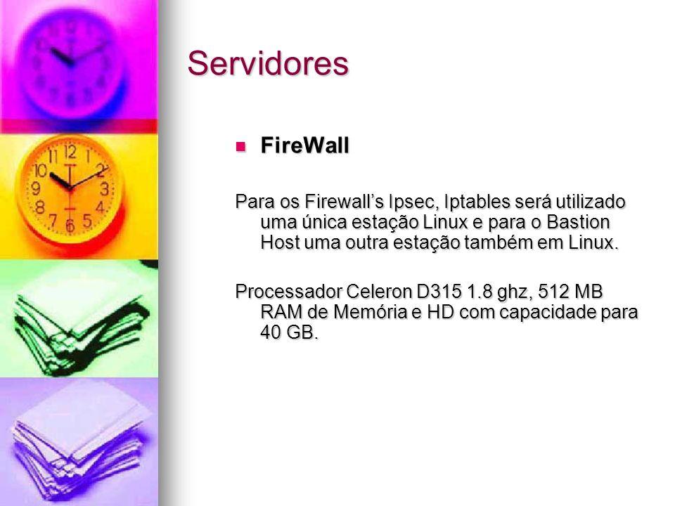 Servidores FireWall FireWall Para os Firewalls Ipsec, Iptables será utilizado uma única estação Linux e para o Bastion Host uma outra estação também e