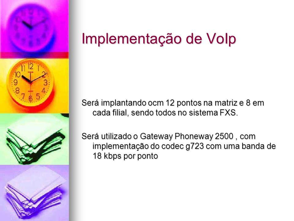 Implementação de VoIp Será implantando ocm 12 pontos na matriz e 8 em cada filial, sendo todos no sistema FXS. Será utilizado o Gateway Phoneway 2500,