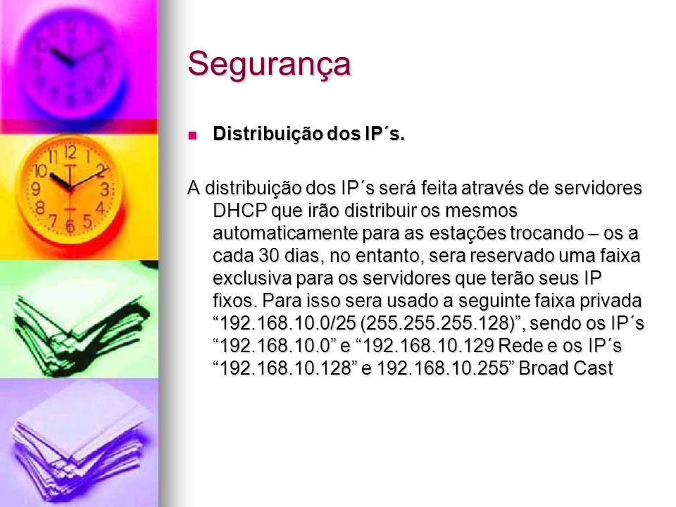 Segurança Distribuição dos IP´s. Distribuição dos IP´s. A distribuição dos IP´s será feita através de servidores DHCP que irão distribuir os mesmos au