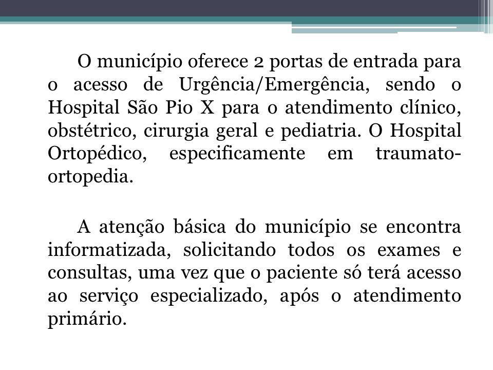 O município oferece 2 portas de entrada para o acesso de Urgência/Emergência, sendo o Hospital São Pio X para o atendimento clínico, obstétrico, cirur