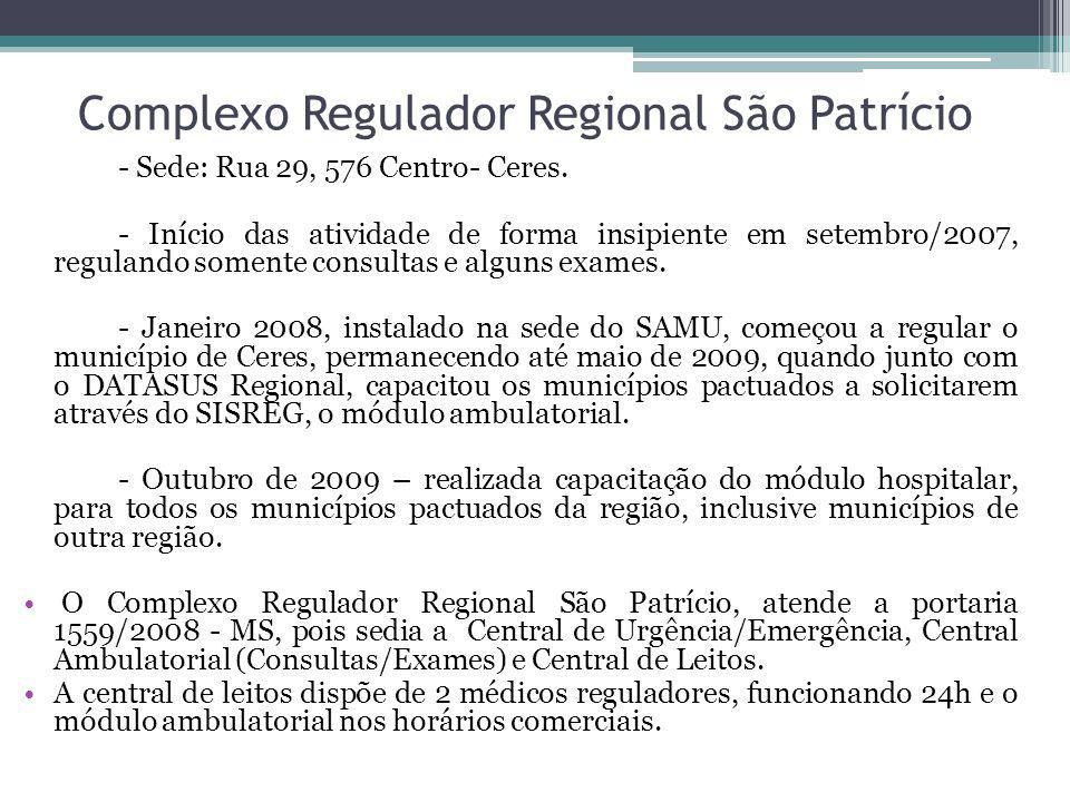 Complexo Regulador Regional São Patrício - Sede: Rua 29, 576 Centro- Ceres. - Início das atividade de forma insipiente em setembro/2007, regulando som