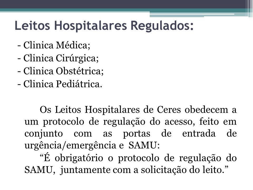 Leitos Hospitalares Regulados: - Clinica Médica; - Clinica Cirúrgica; - Clinica Obstétrica; - Clinica Pediátrica. Os Leitos Hospitalares de Ceres obed