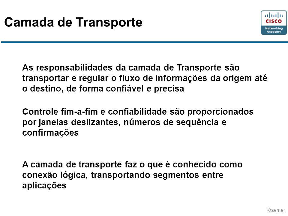 Kraemer As responsabilidades da camada de Transporte são transportar e regular o fluxo de informações da origem até o destino, de forma confiável e pr
