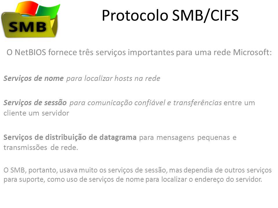 Protocolo SMB/CIFS O NetBIOS fornece três serviços importantes para uma rede Microsoft: Serviços de nome para localizar hosts na rede Serviços de sess