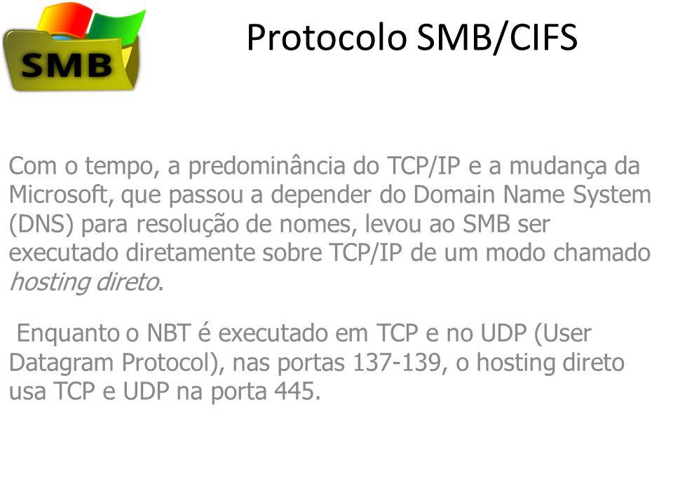 Protocolo SMB/CIFS Com o tempo, a predominância do TCP/IP e a mudança da Microsoft, que passou a depender do Domain Name System (DNS) para resolução d