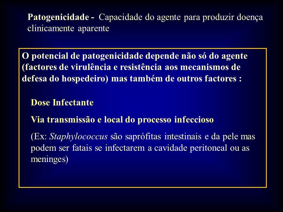 Patogenicidade - Capacidade do agente para produzir doença clinicamente aparente O potencial de patogenicidade depende não só do agente (factores de virulência e resistência aos mecanismos de defesa do hospedeiro) mas também de outros factores : Dose Infectante Via transmissão e local do processo infeccioso (Ex: Staphylococcus são saprófitas intestinais e da pele mas podem ser fatais se infectarem a cavidade peritoneal ou as meninges)