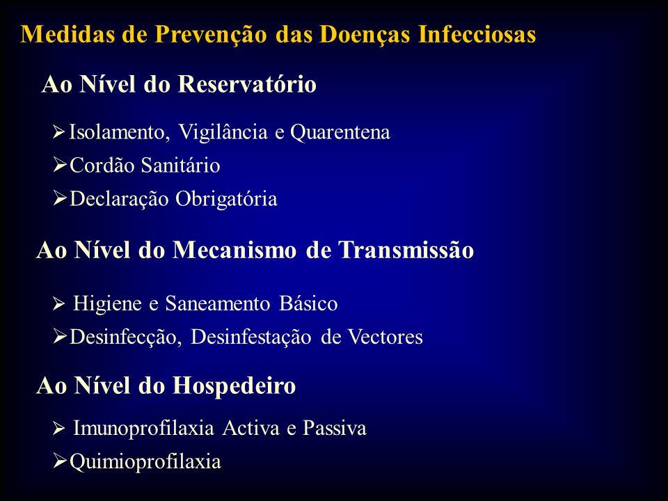 Medidas de Prevenção das Doenças Infecciosas Ao Nível do Reservatório Isolamento, Vigilância e Quarentena Cordão Sanitário Declaração Obrigatória Ao Nível do Mecanismo de Transmissão Higiene e Saneamento Básico Desinfecção, Desinfestação de Vectores Ao Nível do Hospedeiro Imunoprofilaxia Activa e Passiva Quimioprofilaxia