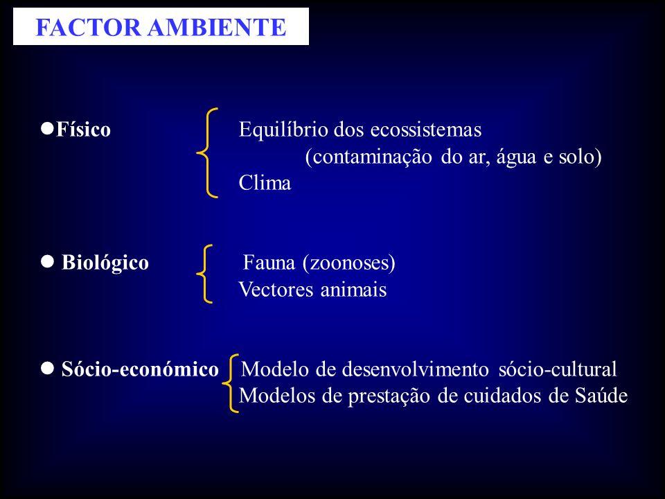 Físico Equilíbrio dos ecossistemas (contaminação do ar, água e solo) Clima Biológico Fauna (zoonoses) Vectores animais Sócio-económico Modelo de desenvolvimento sócio-cultural Modelos de prestação de cuidados de Saúde FACTOR AMBIENTE