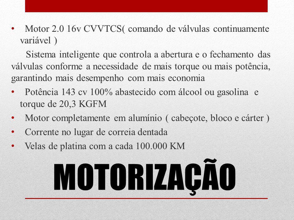 MOTORIZAÇÃO Motor 2.0 16v CVVTCS( comando de válvulas continuamente variável ) Sistema inteligente que controla a abertura e o fechamento das válvulas