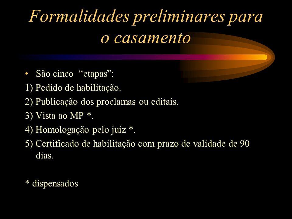 Formalidades preliminares para o casamento São cinco etapas: 1) Pedido de habilitação. 2) Publicação dos proclamas ou editais. 3) Vista ao MP *. 4) Ho