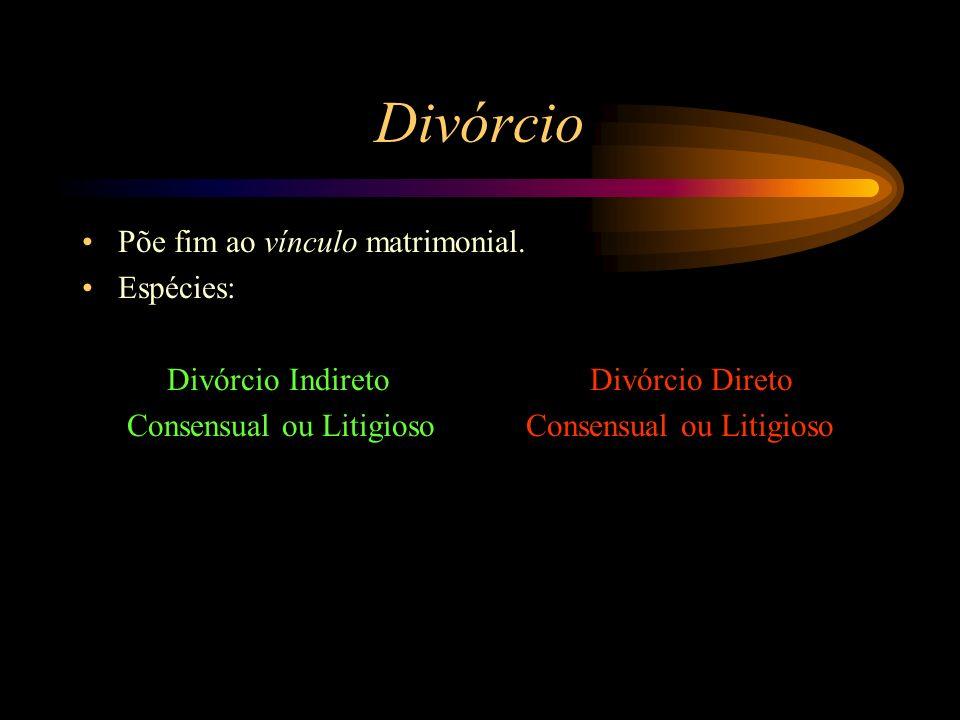 Divórcio Põe fim ao vínculo matrimonial. Espécies: Divórcio Indireto Divórcio Direto Consensual ou Litigioso