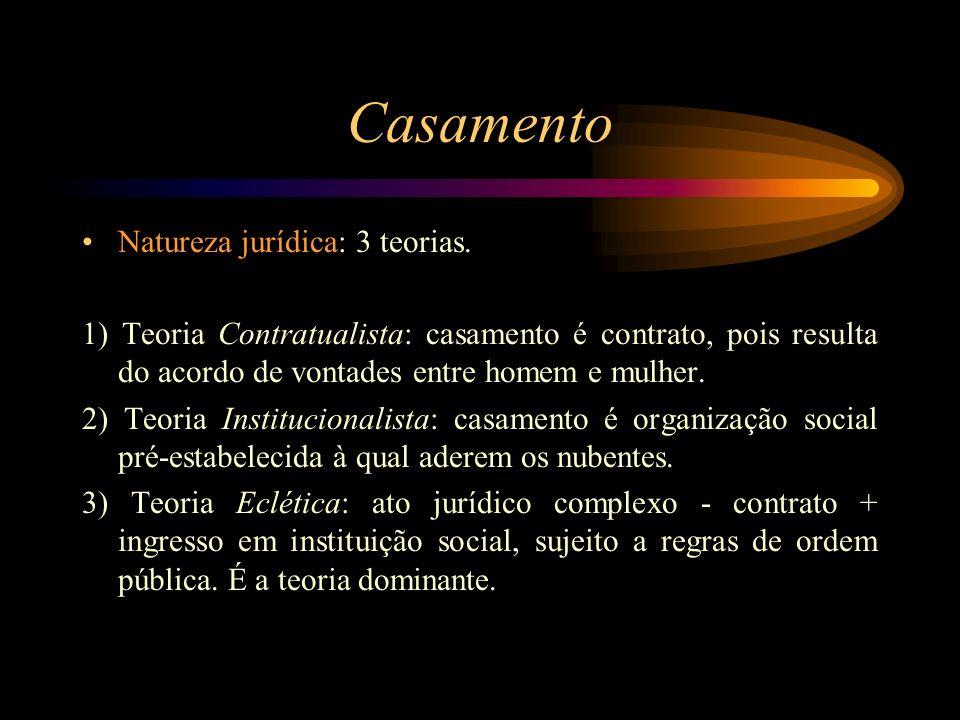 Casamento Natureza jurídica: 3 teorias. 1) Teoria Contratualista: casamento é contrato, pois resulta do acordo de vontades entre homem e mulher. 2) Te