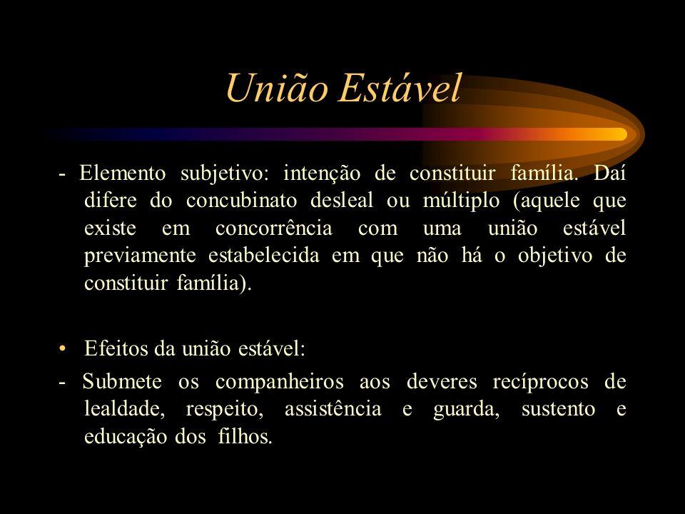 União Estável - Elemento subjetivo: intenção de constituir família. Daí difere do concubinato desleal ou múltiplo (aquele que existe em concorrência c