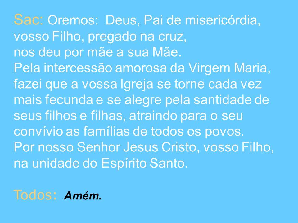 Sac: Oremos: Deus, Pai de misericórdia, vosso Filho, pregado na cruz, nos deu por mãe a sua Mãe. Pela intercessão amorosa da Virgem Maria, fazei que a