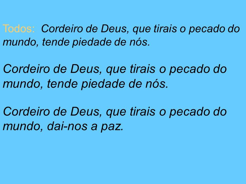 Todos: Cordeiro de Deus, que tirais o pecado do mundo, tende piedade de nós. Cordeiro de Deus, que tirais o pecado do mundo, tende piedade de nós. Cor