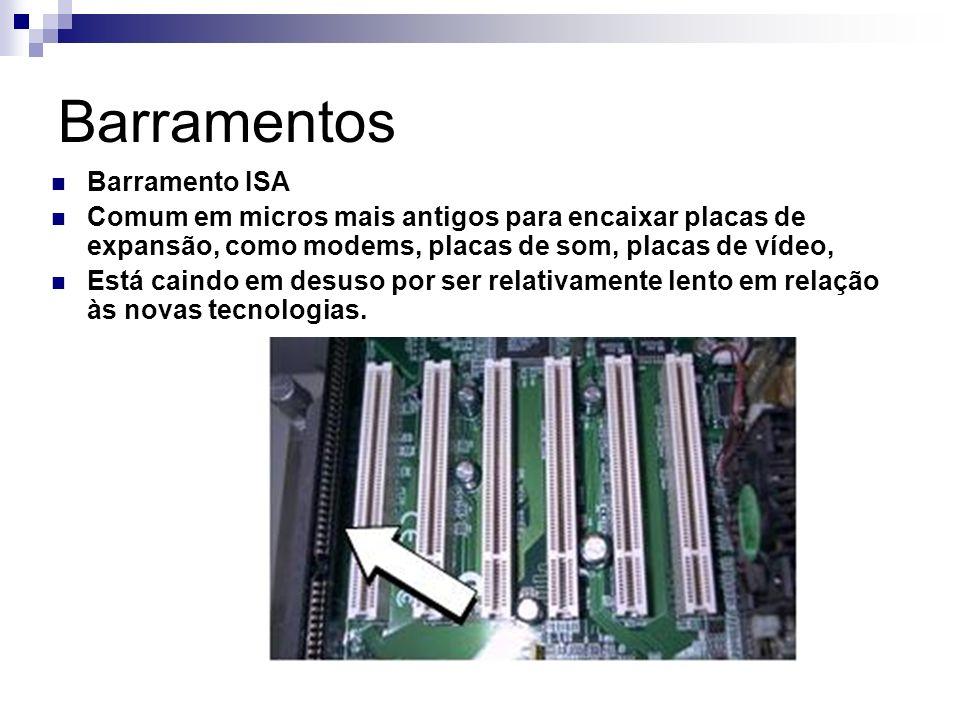 Barramentos Barramento ISA Comum em micros mais antigos para encaixar placas de expansão, como modems, placas de som, placas de vídeo, Está caindo em