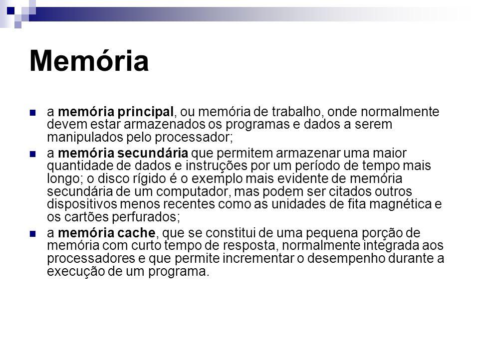 Memória a memória principal, ou memória de trabalho, onde normalmente devem estar armazenados os programas e dados a serem manipulados pelo processado