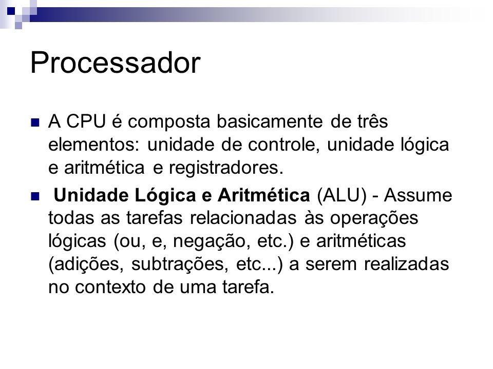 Processador A CPU é composta basicamente de três elementos: unidade de controle, unidade lógica e aritmética e registradores. Unidade Lógica e Aritmét