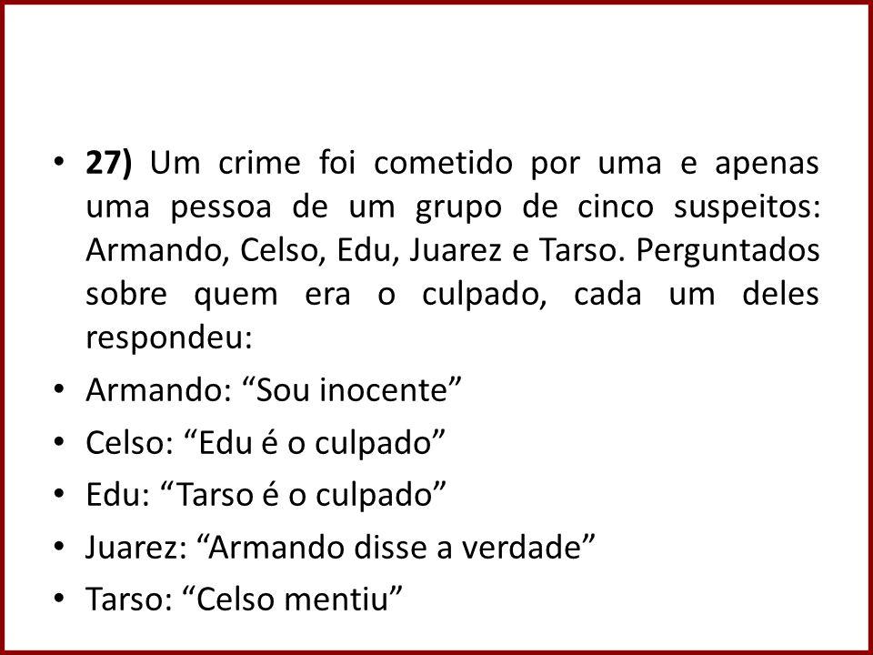 27) Um crime foi cometido por uma e apenas uma pessoa de um grupo de cinco suspeitos: Armando, Celso, Edu, Juarez e Tarso.