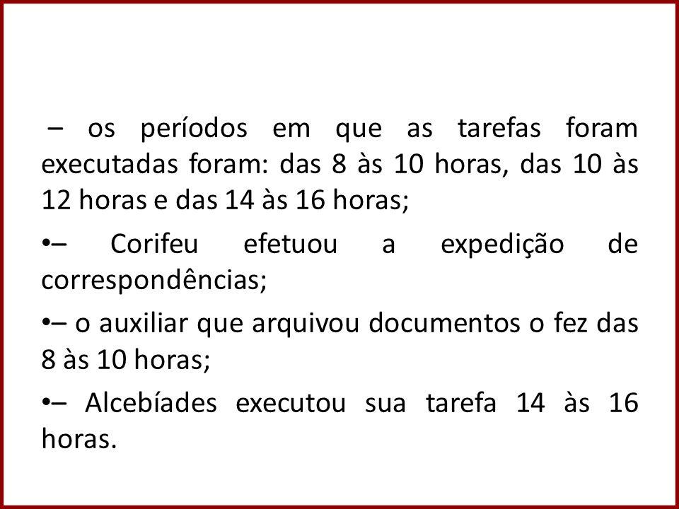 – os períodos em que as tarefas foram executadas foram: das 8 às 10 horas, das 10 às 12 horas e das 14 às 16 horas; – Corifeu efetuou a expedição de c