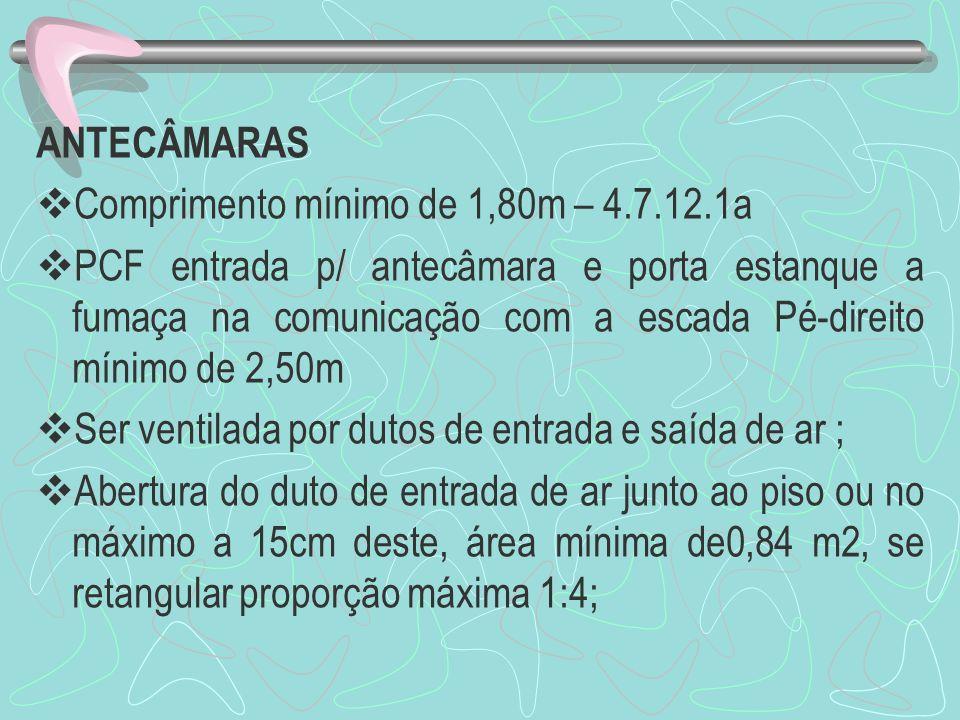 ANTECÂMARAS Comprimento mínimo de 1,80m – 4.7.12.1a PCF entrada p/ antecâmara e porta estanque a fumaça na comunicação com a escada Pé-direito mínimo