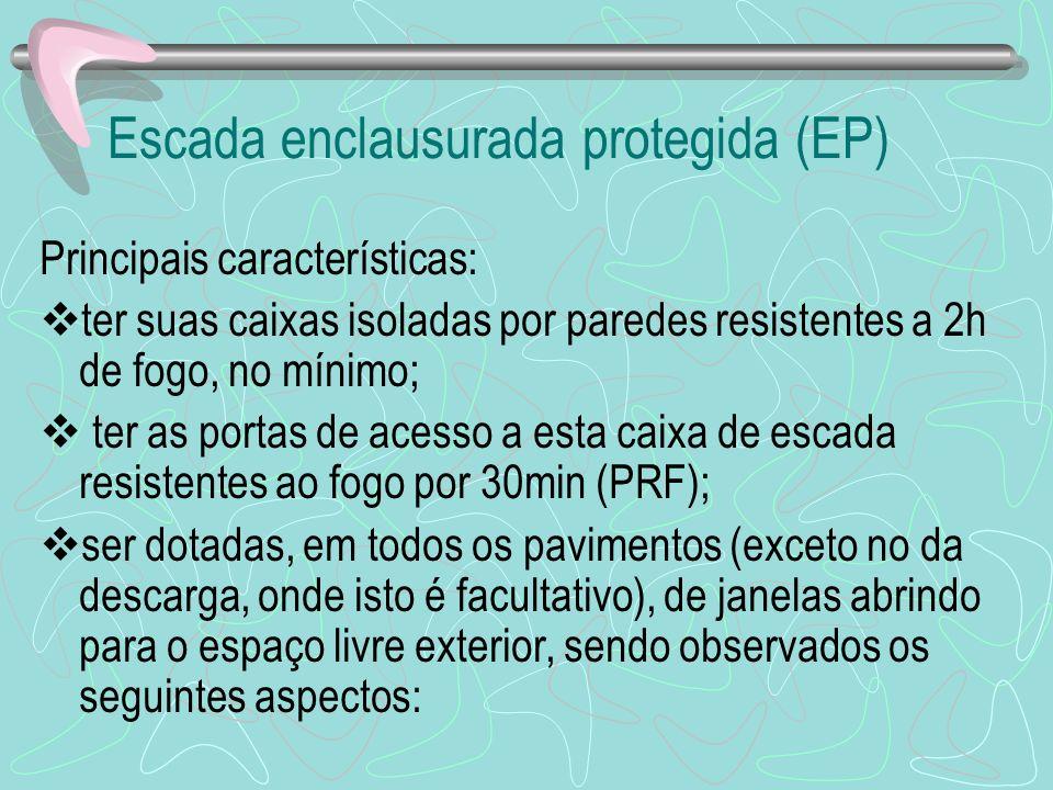 Escada enclausurada protegida (EP) Principais características: ter suas caixas isoladas por paredes resistentes a 2h de fogo, no mínimo; ter as portas
