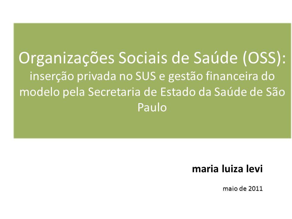 Organizações Sociais de Saúde (OSS): inserção privada no SUS e gestão financeira do modelo pela Secretaria de Estado da Saúde de São Paulo maria luiza levi maio de 2011