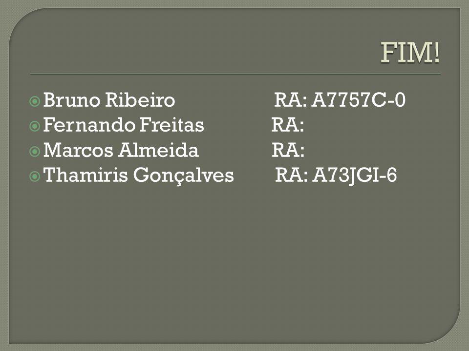 Bruno Ribeiro RA: A7757C-0 Fernando Freitas RA: Marcos Almeida RA: Thamiris Gonçalves RA: A73JGI-6