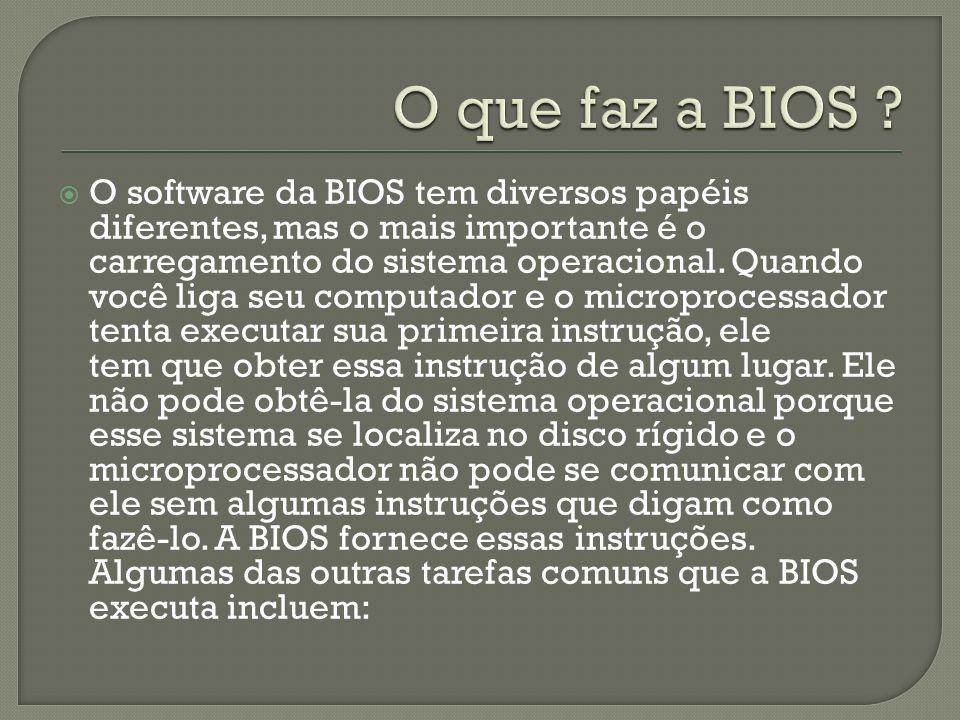 O software da BIOS tem diversos papéis diferentes, mas o mais importante é o carregamento do sistema operacional.