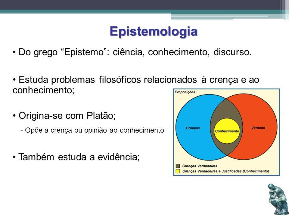 Epistemologia Do grego Epistemo: ciência, conhecimento, discurso. Estuda problemas filosóficos relacionados à crença e ao conhecimento; Origina-se com