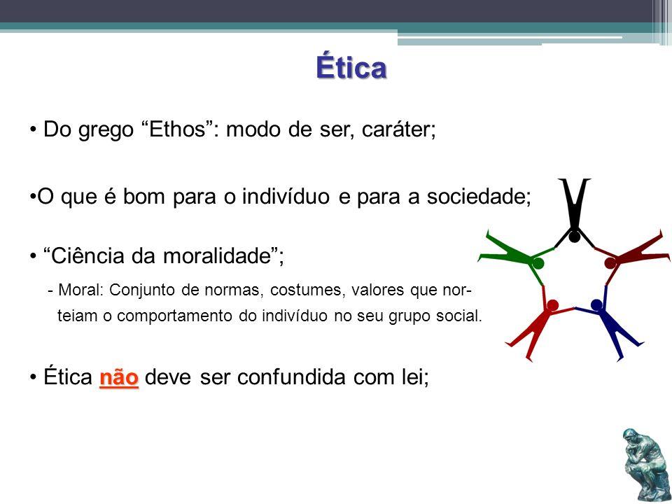 Ética Do grego Ethos: modo de ser, caráter; O que é bom para o indivíduo e para a sociedade; Ciência da moralidade; - Moral: Conjunto de normas, costu