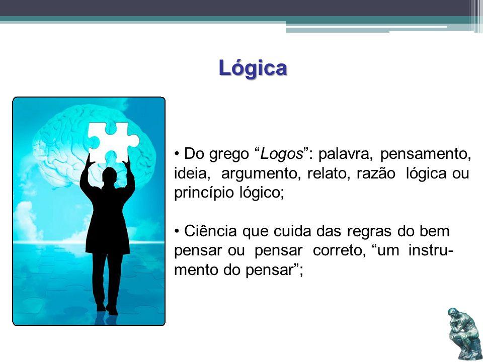 Lógica Do grego Logos: palavra, pensamento, ideia, argumento, relato, razão lógica ou princípio lógico; Ciência que cuida das regras do bem pensar ou