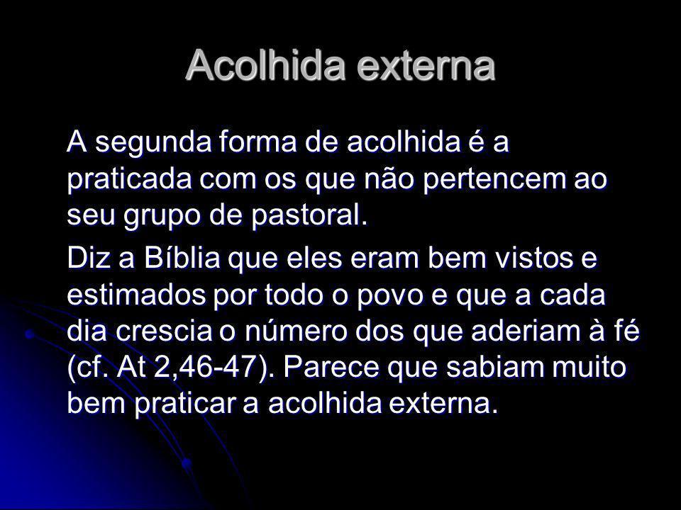 Acolhida externa A segunda forma de acolhida é a praticada com os que não pertencem ao seu grupo de pastoral.