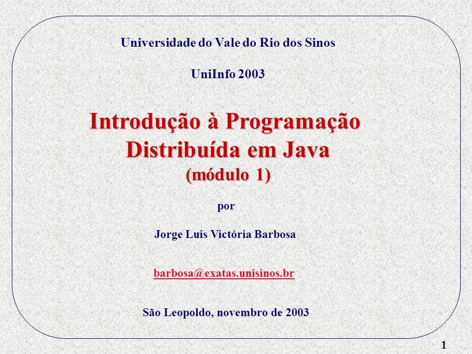 12 RMI (Remote Method Invocation) História: RPC (Remote Procedure Call) Conceito de RMI (RPC evoluiu para RMI) RMI em Java 1 2 3 Exemplo Produtor - Consumidor MessageQueueImpl Buffer Módulo 1