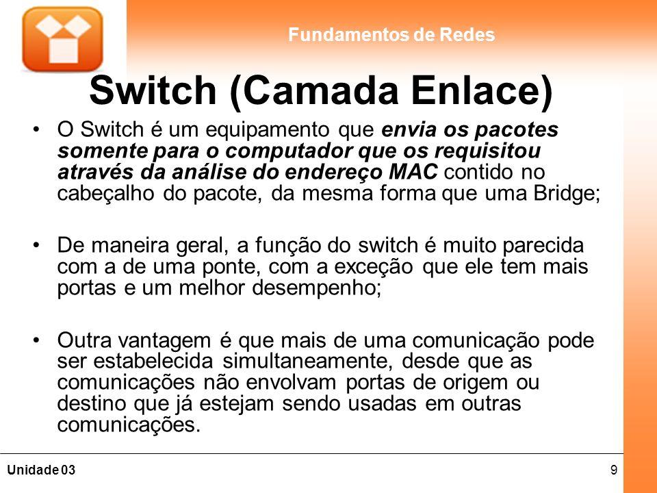 9Unidade 03 Fundamentos de Redes Switch (Camada Enlace) O Switch é um equipamento que envia os pacotes somente para o computador que os requisitou através da análise do endereço MAC contido no cabeçalho do pacote, da mesma forma que uma Bridge; De maneira geral, a função do switch é muito parecida com a de uma ponte, com a exceção que ele tem mais portas e um melhor desempenho; Outra vantagem é que mais de uma comunicação pode ser estabelecida simultaneamente, desde que as comunicações não envolvam portas de origem ou destino que já estejam sendo usadas em outras comunicações.