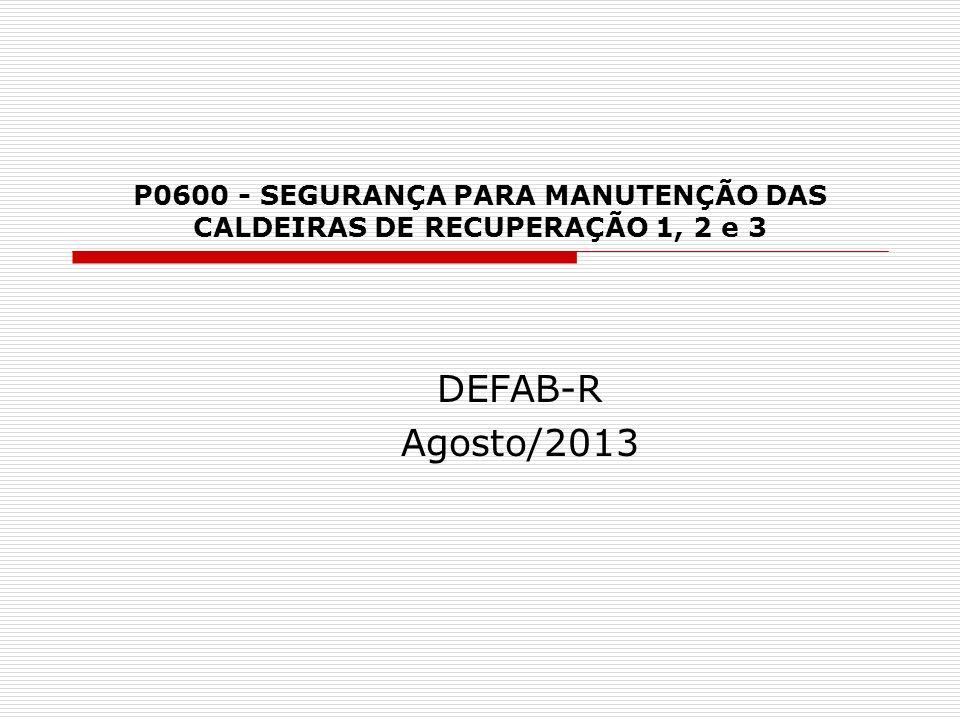 P0600 - SEGURANÇA PARA MANUTENÇÃO DAS CALDEIRAS DE RECUPERAÇÃO 1, 2 e 3 DEFAB-R Agosto/2013