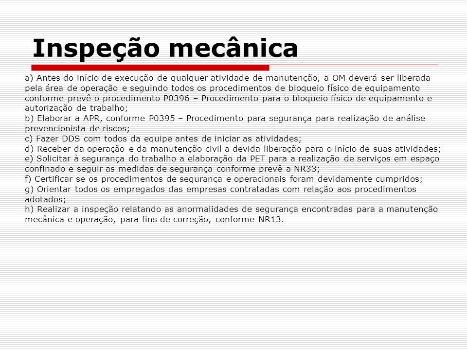 Inspeção mecânica a) Antes do início de execução de qualquer atividade de manutenção, a OM deverá ser liberada pela área de operação e seguindo todos