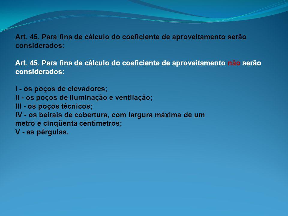 Art. 45. Para fins de cálculo do coeficiente de aproveitamento serão considerados: Art. 45. Para fins de cálculo do coeficiente de aproveitamento não
