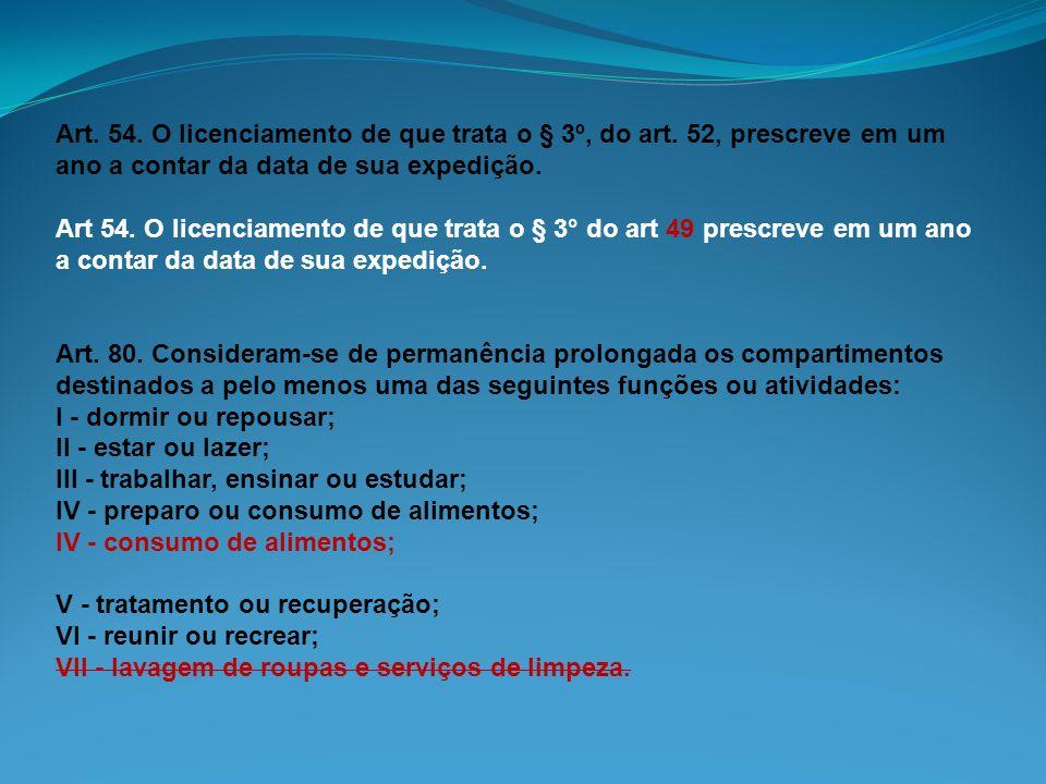 Art. 54. O licenciamento de que trata o § 3º, do art. 52, prescreve em um ano a contar da data de sua expedição. Art 54. O licenciamento de que trata