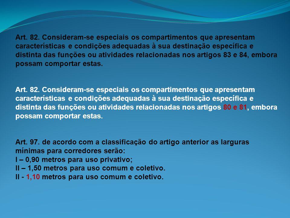 Art. 82. Consideram-se especiais os compartimentos que apresentam características e condições adequadas à sua destinação específica e distinta das fun