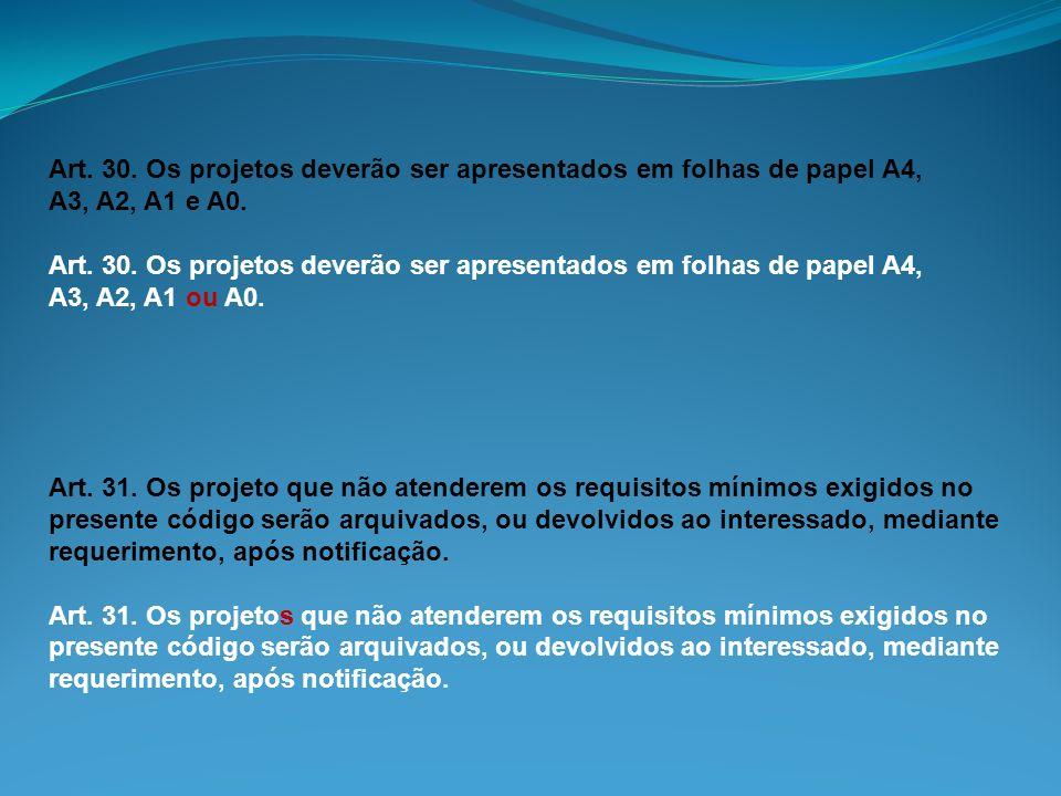 Art. 30. Os projetos deverão ser apresentados em folhas de papel A4, A3, A2, A1 e A0. Art. 30. Os projetos deverão ser apresentados em folhas de papel