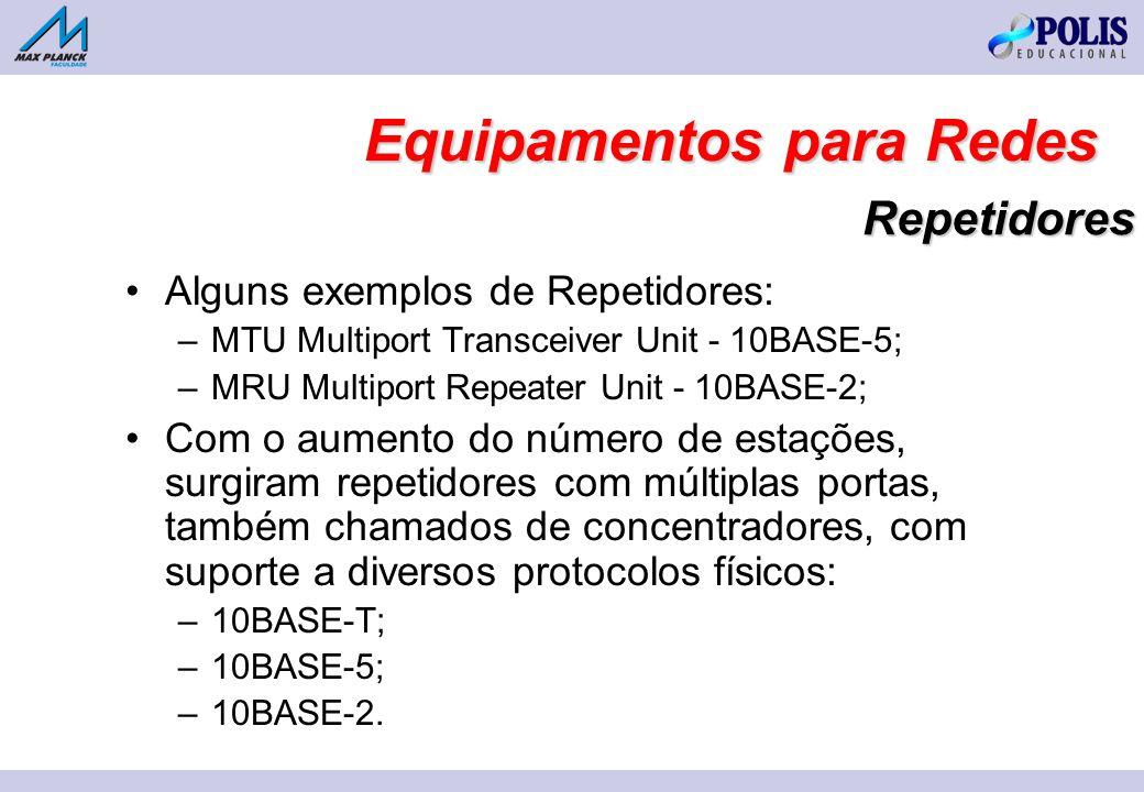 Repetidores Alguns exemplos de Repetidores: –MTU Multiport Transceiver Unit - 10BASE-5; –MRU Multiport Repeater Unit - 10BASE-2; Com o aumento do número de estações, surgiram repetidores com múltiplas portas, também chamados de concentradores, com suporte a diversos protocolos físicos: –10BASE-T; –10BASE-5; –10BASE-2.